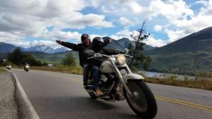 Dans la région de Bariloche en Patagonie sur un voyage moto Harley