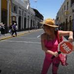 Dans la ville d'Aréquipa lors d'un voyage moto Harley au Pérou