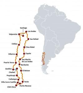 Carte itinéraire Gran Patagonia par Road Trip Factory