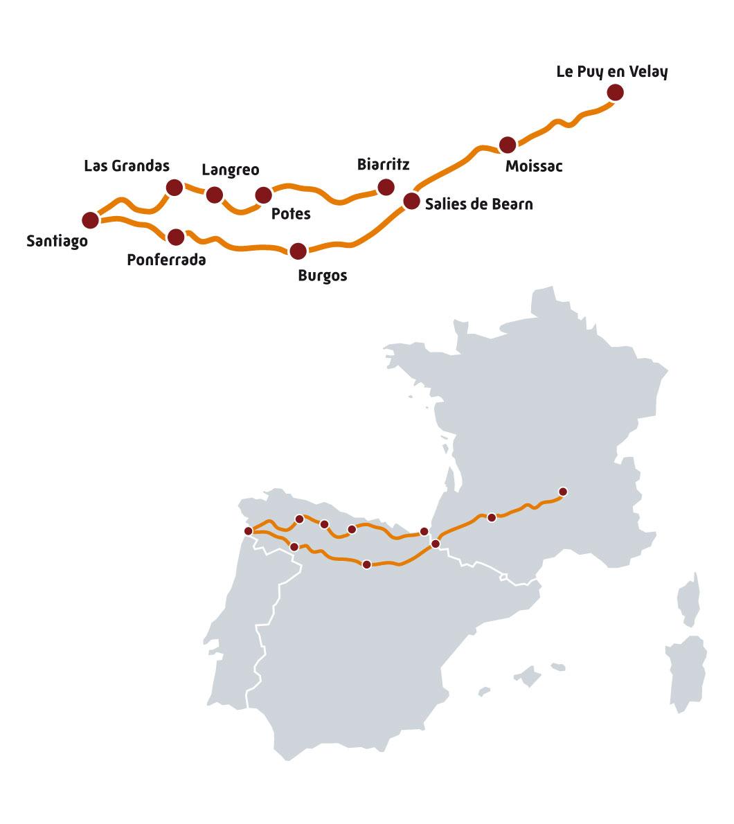 Carte Itinéraire Saint-Jacques-de-Compostelle par Road Trip Factory