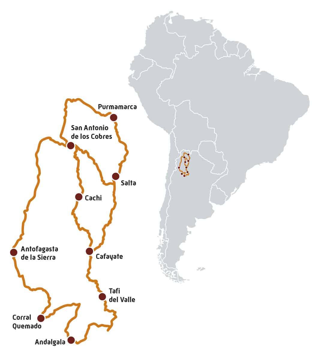 Itinéraire rando à moto en Argentine sur l'altiplano