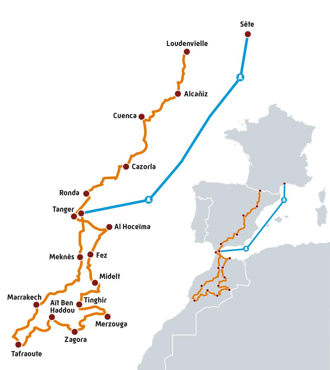 Carte Road Trip Harley à destination du Maroc