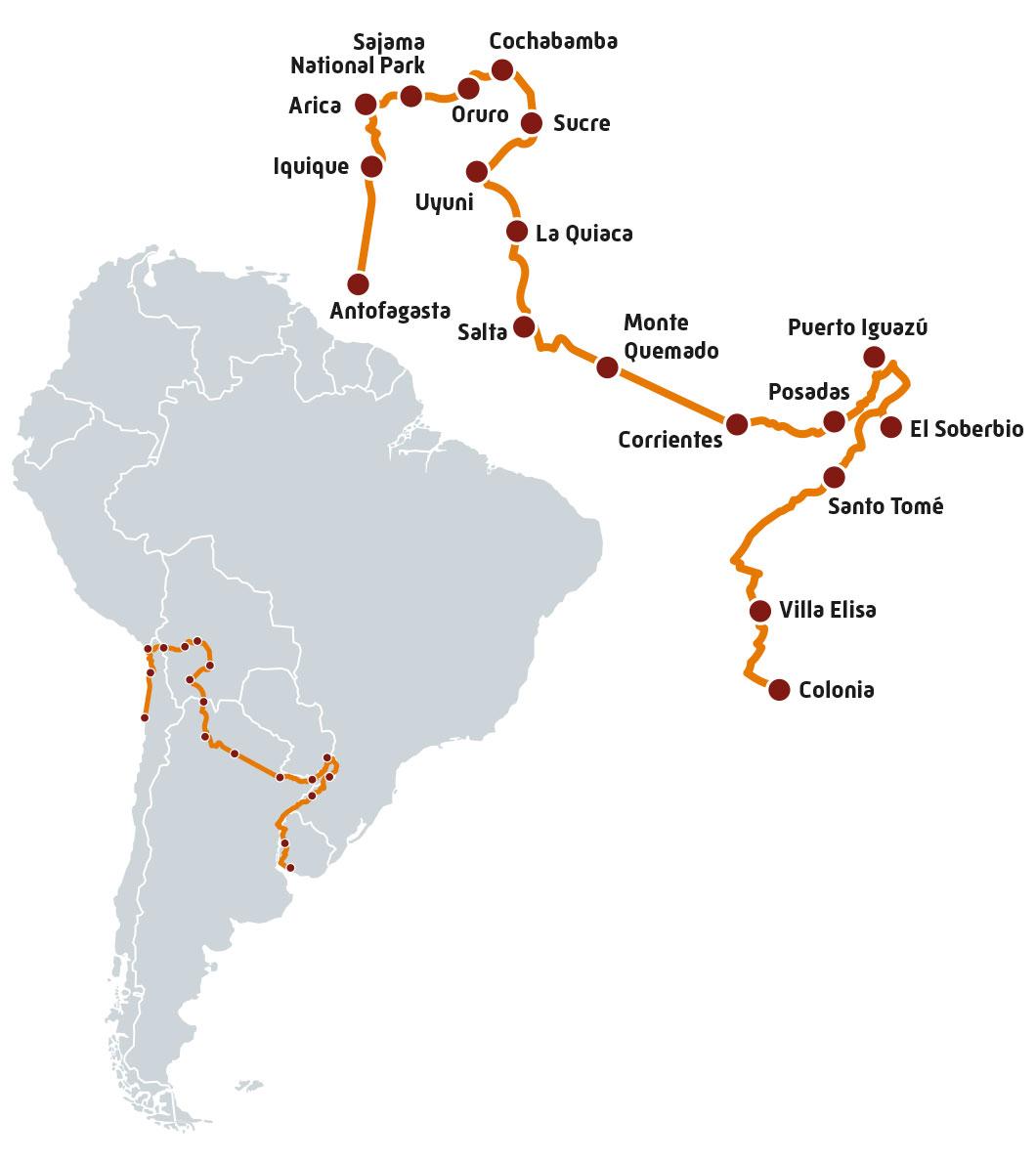 Itinéraire du premier road trip Harley en Amérique du Sud de Colonia en Uruguay jusqu'à Antofagasta au Chili en passant par l'Argentine et la Bolivie